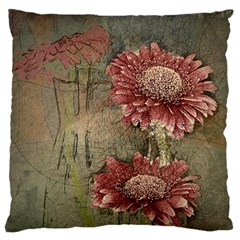 Flowers Plant Red Drawing Art Large Flano Cushion Case (one Side)