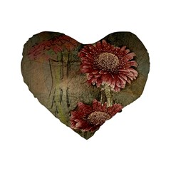 Flowers Plant Red Drawing Art Standard 16  Premium Flano Heart Shape Cushions