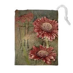 Flowers Plant Red Drawing Art Drawstring Pouches (Extra Large)