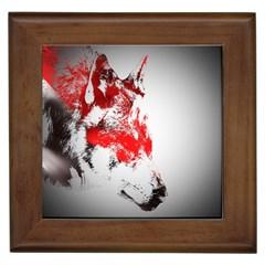 Red Black Wolf Stamp Background Framed Tiles