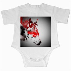Red Black Wolf Stamp Background Infant Creepers