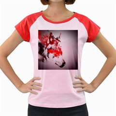 Red Black Wolf Stamp Background Women s Cap Sleeve T-Shirt