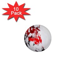 Red Black Wolf Stamp Background 1  Mini Magnet (10 pack)