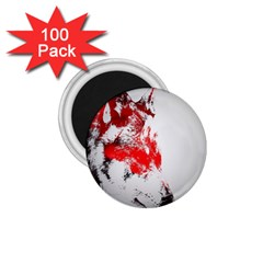 Red Black Wolf Stamp Background 1 75  Magnets (100 Pack)