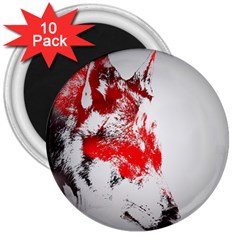Red Black Wolf Stamp Background 3  Magnets (10 Pack)