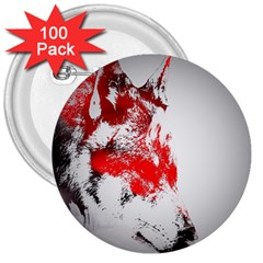 Red Black Wolf Stamp Background 3  Buttons (100 Pack)