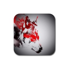 Red Black Wolf Stamp Background Rubber Coaster (square)