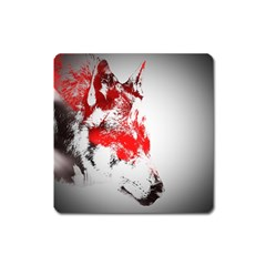 Red Black Wolf Stamp Background Square Magnet