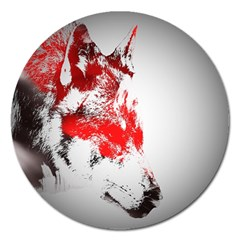 Red Black Wolf Stamp Background Magnet 5  (round)