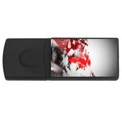 Red Black Wolf Stamp Background USB Flash Drive Rectangular (2 GB)
