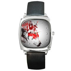 Red Black Wolf Stamp Background Square Metal Watch