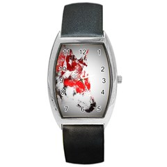 Red Black Wolf Stamp Background Barrel Style Metal Watch