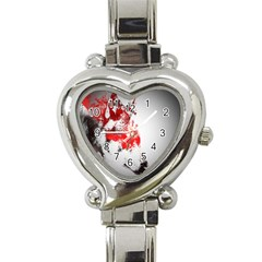 Red Black Wolf Stamp Background Heart Italian Charm Watch