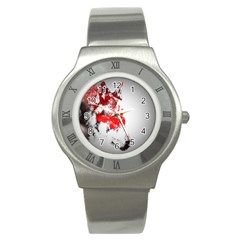 Red Black Wolf Stamp Background Stainless Steel Watch