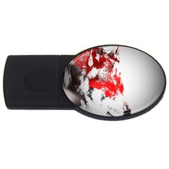 Red Black Wolf Stamp Background USB Flash Drive Oval (4 GB)
