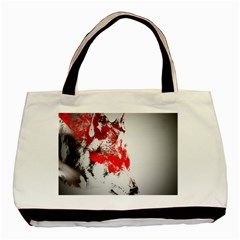 Red Black Wolf Stamp Background Basic Tote Bag