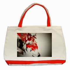 Red Black Wolf Stamp Background Classic Tote Bag (Red)