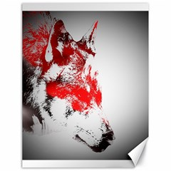 Red Black Wolf Stamp Background Canvas 18  X 24