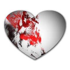 Red Black Wolf Stamp Background Heart Mousepads