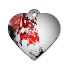 Red Black Wolf Stamp Background Dog Tag Heart (One Side)