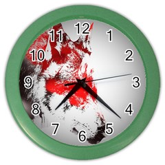 Red Black Wolf Stamp Background Color Wall Clocks
