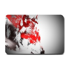 Red Black Wolf Stamp Background Small Doormat