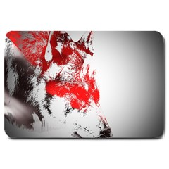 Red Black Wolf Stamp Background Large Doormat