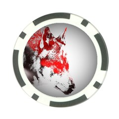 Red Black Wolf Stamp Background Poker Chip Card Guard