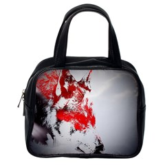 Red Black Wolf Stamp Background Classic Handbags (one Side)