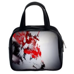 Red Black Wolf Stamp Background Classic Handbags (2 Sides)