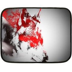 Red Black Wolf Stamp Background Fleece Blanket (mini)