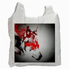 Red Black Wolf Stamp Background Recycle Bag (One Side)