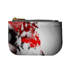 Red Black Wolf Stamp Background Mini Coin Purses