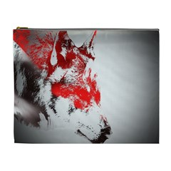 Red Black Wolf Stamp Background Cosmetic Bag (XL)
