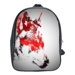 Red Black Wolf Stamp Background School Bags(large)