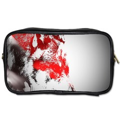 Red Black Wolf Stamp Background Toiletries Bags
