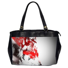 Red Black Wolf Stamp Background Office Handbags (2 Sides)
