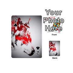 Red Black Wolf Stamp Background Playing Cards 54 (Mini)