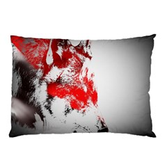 Red Black Wolf Stamp Background Pillow Case (Two Sides)
