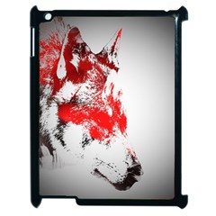 Red Black Wolf Stamp Background Apple Ipad 2 Case (black)