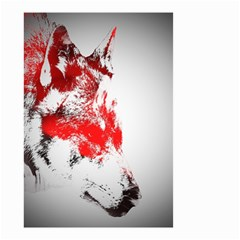 Red Black Wolf Stamp Background Small Garden Flag (two Sides)