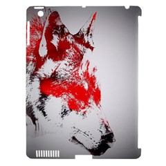 Red Black Wolf Stamp Background Apple iPad 3/4 Hardshell Case (Compatible with Smart Cover)