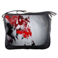 Red Black Wolf Stamp Background Messenger Bags