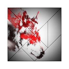 Red Black Wolf Stamp Background Acrylic Tangram Puzzle (6  x 6 )