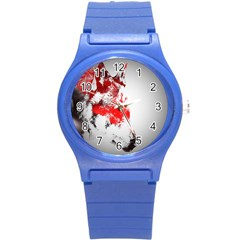 Red Black Wolf Stamp Background Round Plastic Sport Watch (s)