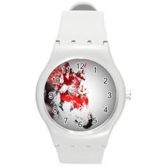 Red Black Wolf Stamp Background Round Plastic Sport Watch (M)
