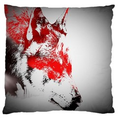 Red Black Wolf Stamp Background Large Cushion Case (One Side)