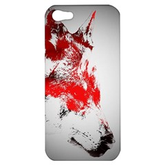 Red Black Wolf Stamp Background Apple Iphone 5 Hardshell Case
