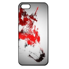 Red Black Wolf Stamp Background Apple Iphone 5 Seamless Case (black)