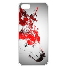 Red Black Wolf Stamp Background Apple Iphone 5 Seamless Case (white)